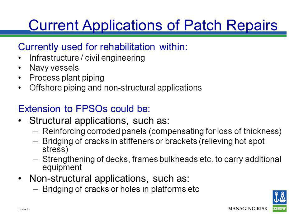 Current Applications of Patch Repairs