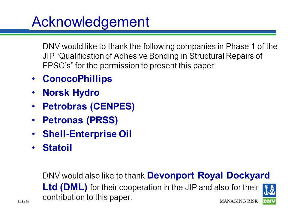 Acknowledgement ConocoPhillips Norsk Hydro Petrobras (CENPES)
