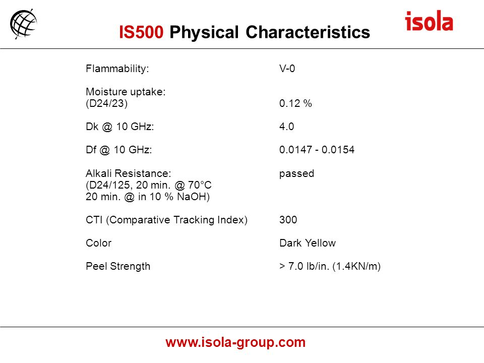 IS500 Physical Characteristics
