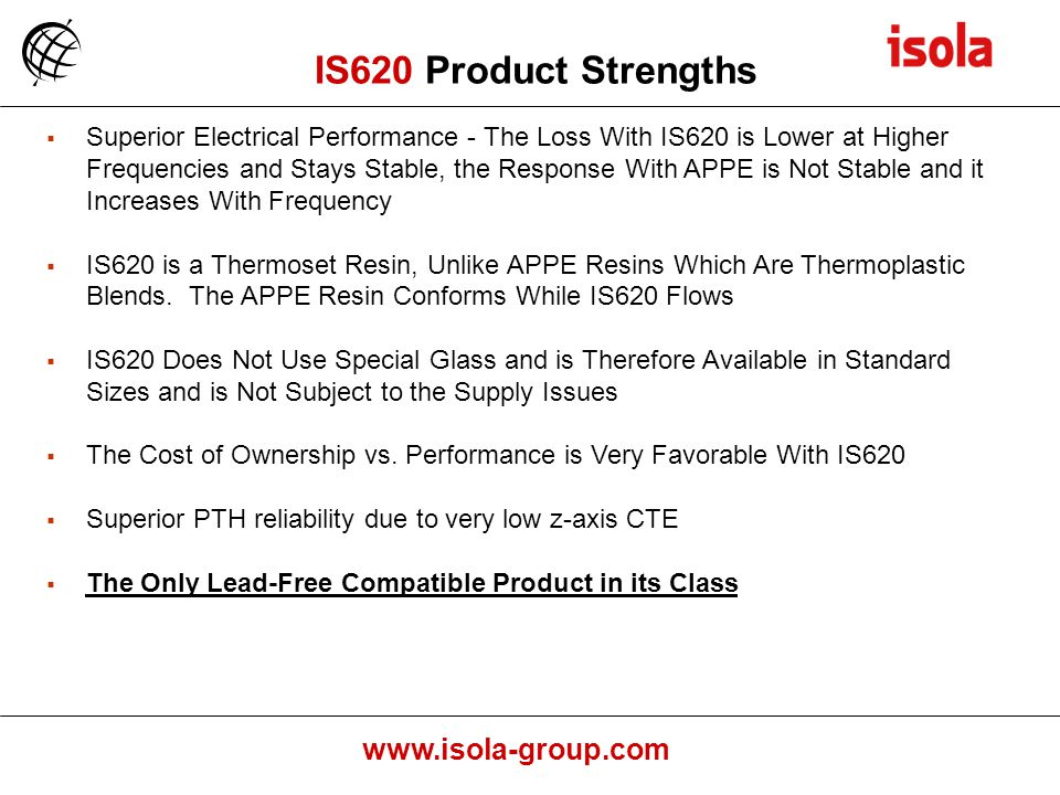 IS620 Product Strengths