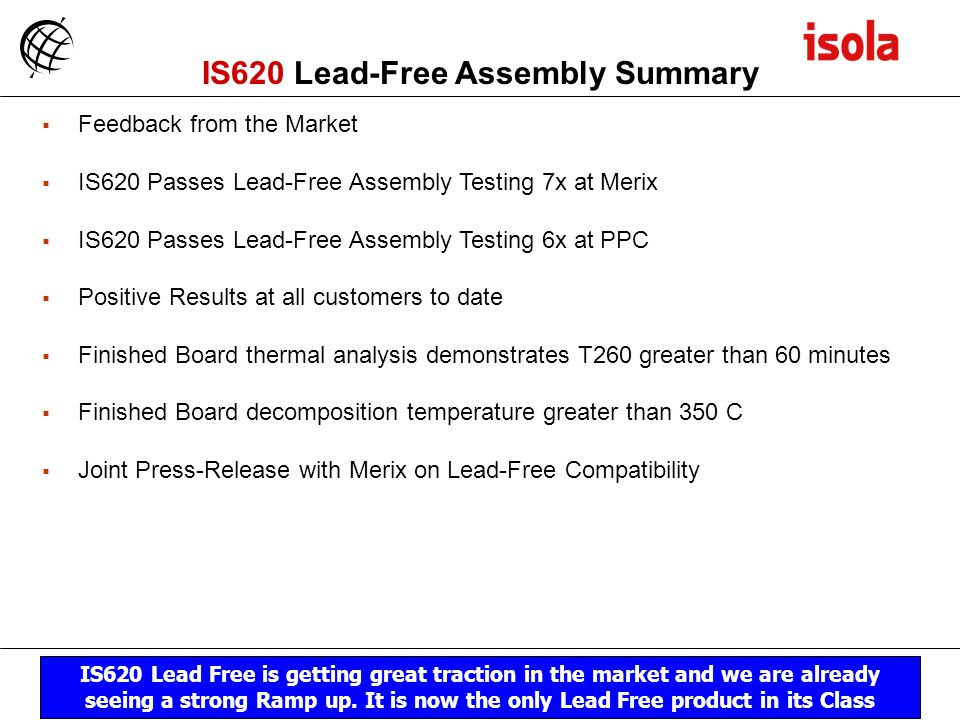 IS620 Lead-Free Assembly Summary