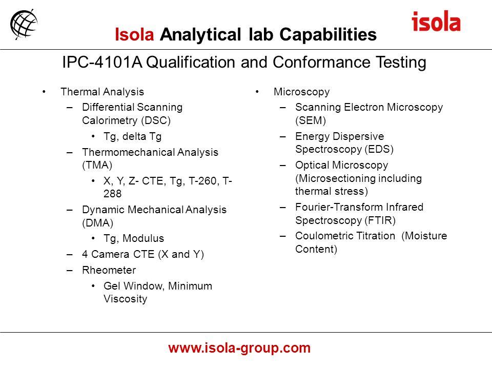 Isola Analytical lab Capabilities