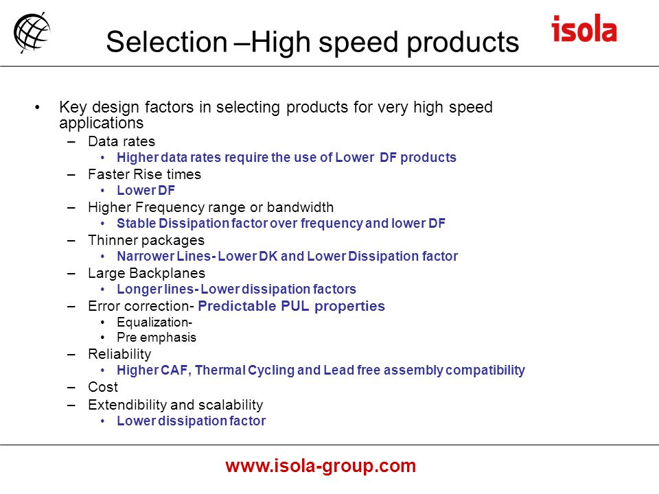 Selection –High speed products