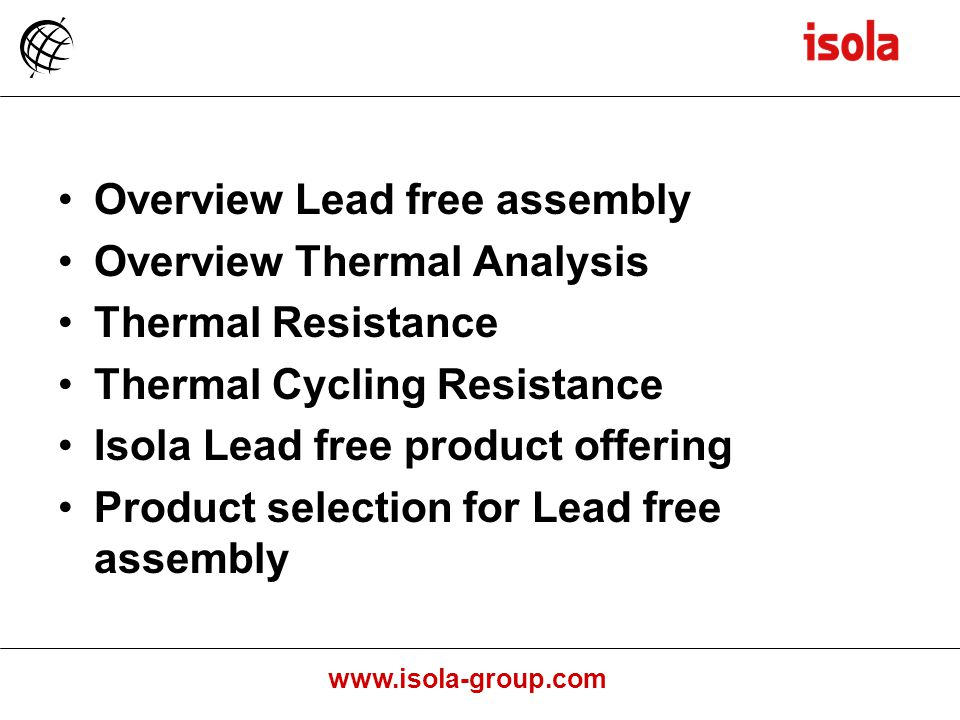 Overview Lead free assembly