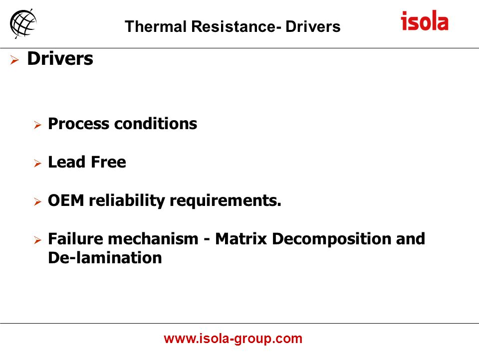 Drivers Thermal Resistance- Drivers Process conditions Lead Free