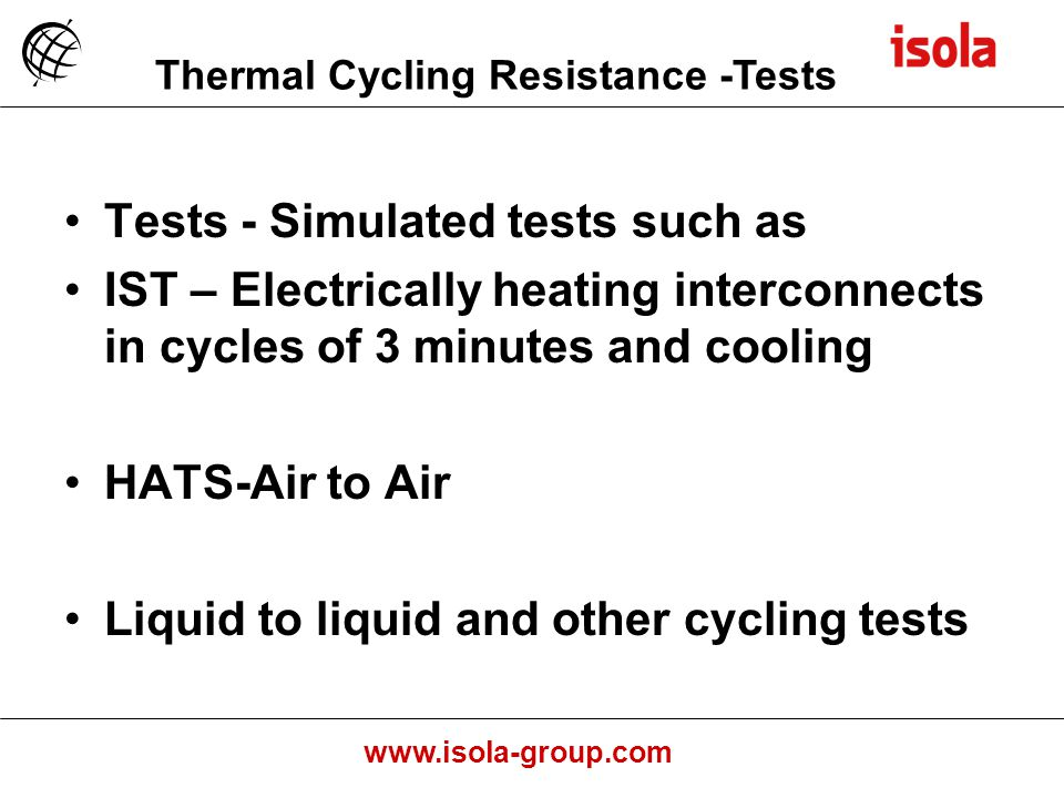 Thermal Cycling Resistance -Tests