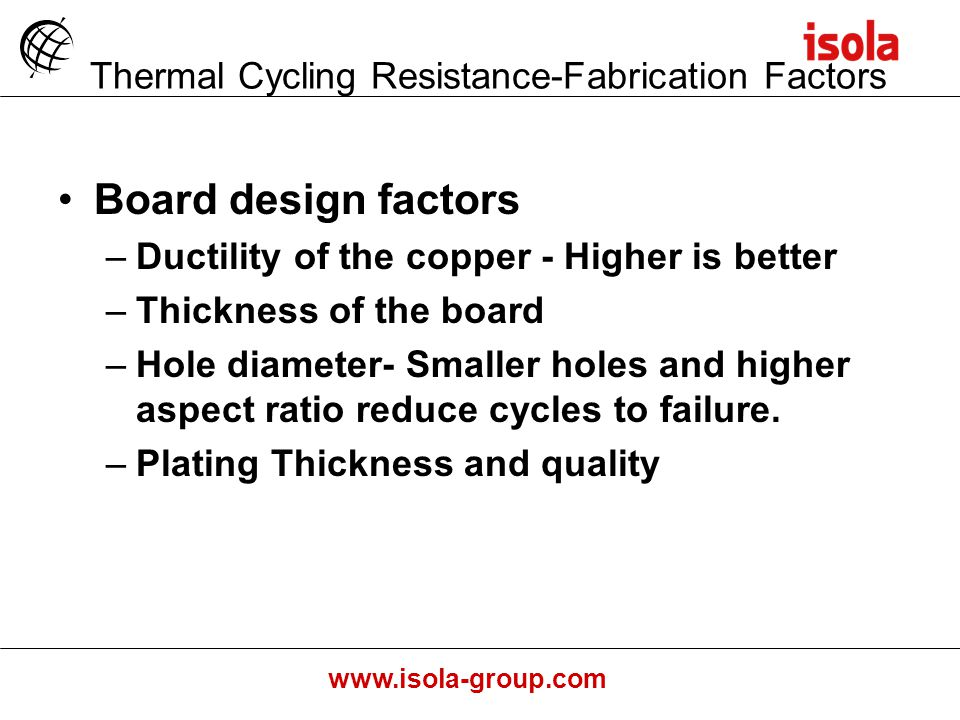 Thermal Cycling Resistance-Fabrication Factors