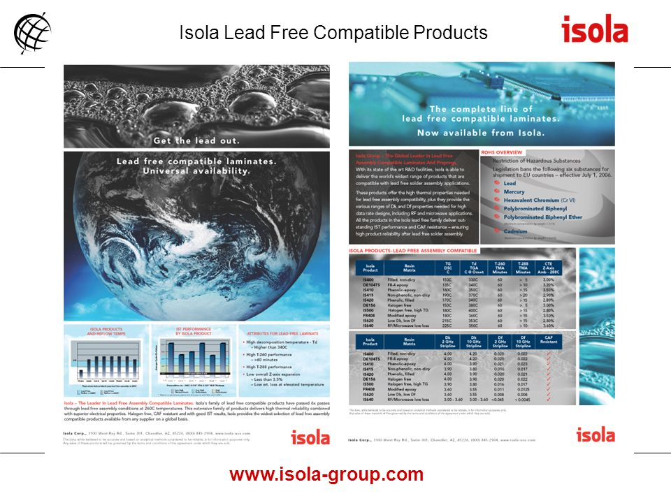 Isola Lead Free Compatible Products