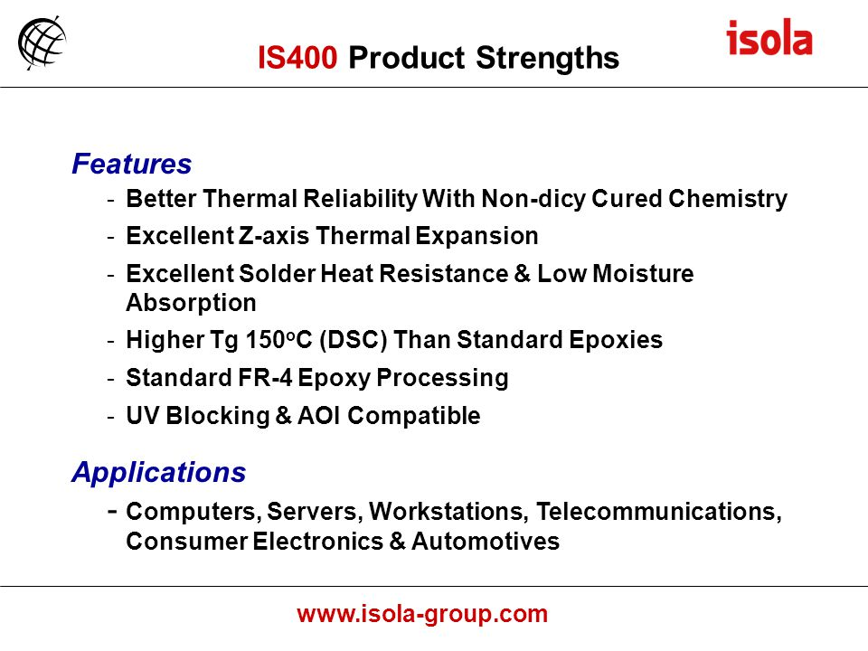 IS400 Product Strengths Features Applications