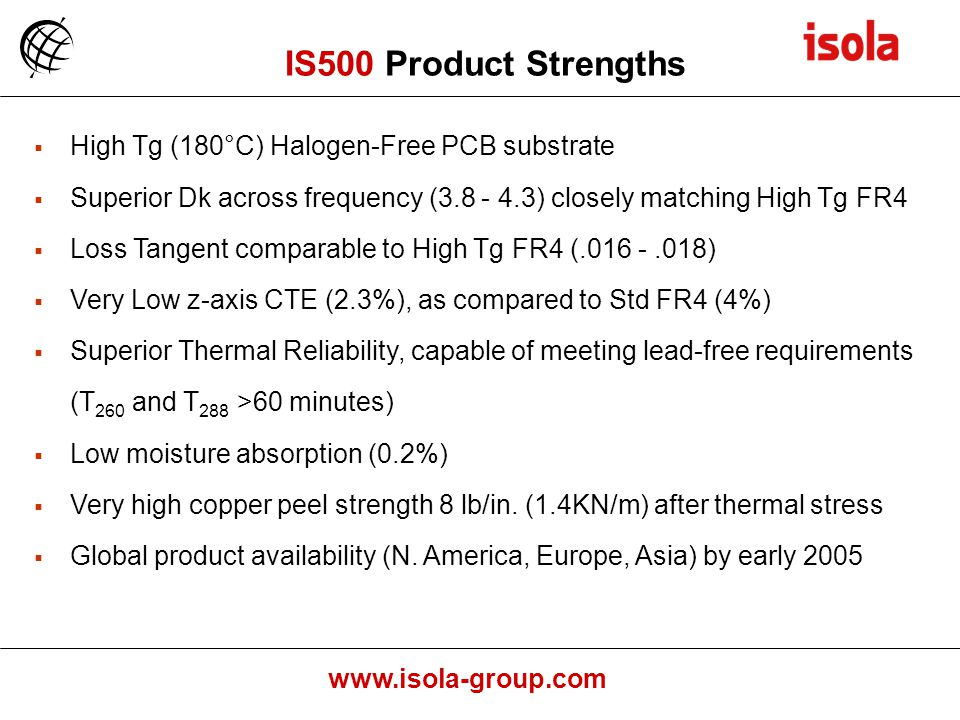 IS500 Product Strengths High Tg (180°C) Halogen-Free PCB substrate