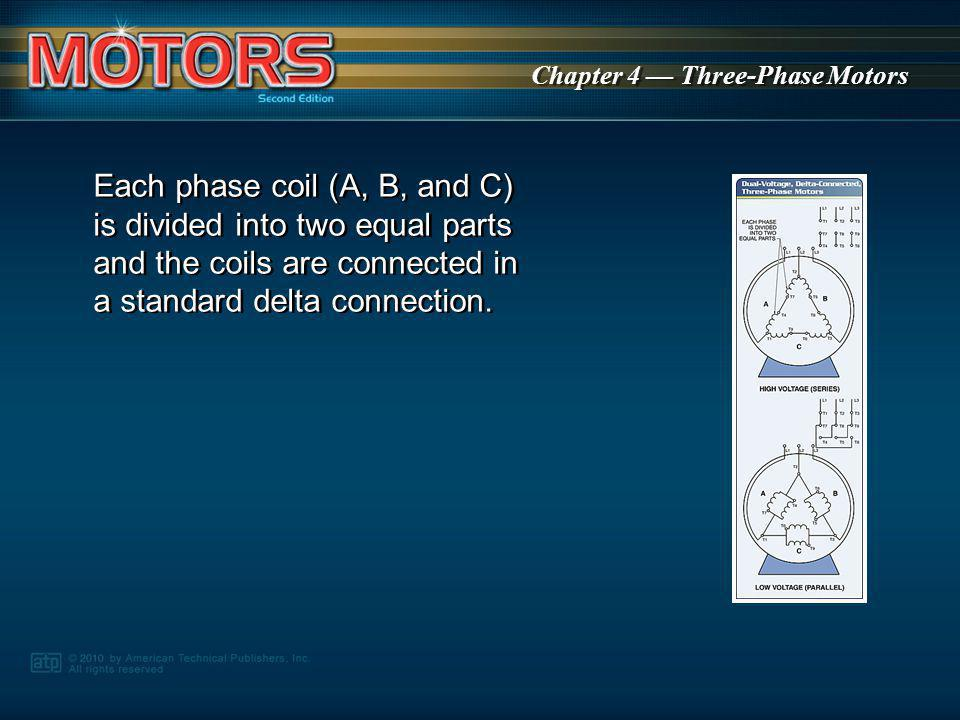 Each phase coil (A, B, and C) is divided into two equal parts and the coils are connected in a standard delta connection.