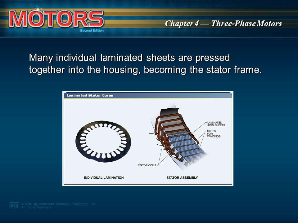 Many individual laminated sheets are pressed together into the housing, becoming the stator frame.