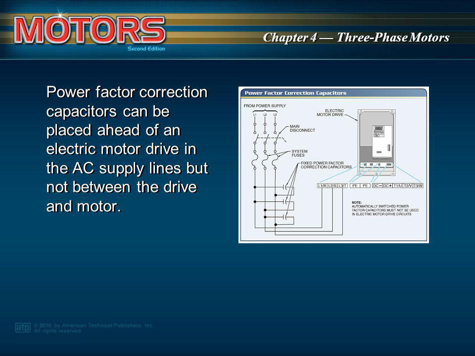 Power factor correction capacitors can be placed ahead of an electric motor drive in the AC supply lines but not between the drive and motor.