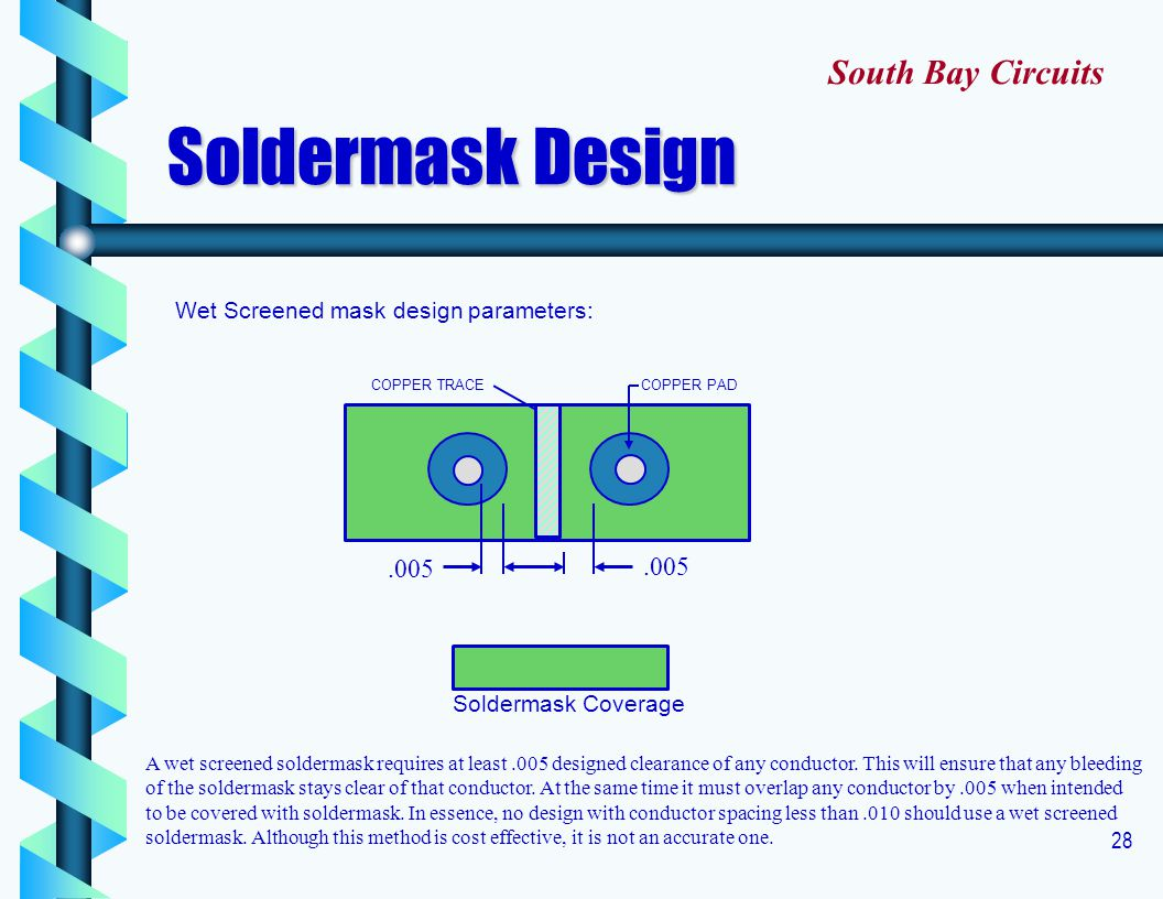 Soldermask Design South Bay Circuits .005 .005