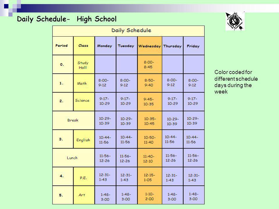 Daily Schedule- High School
