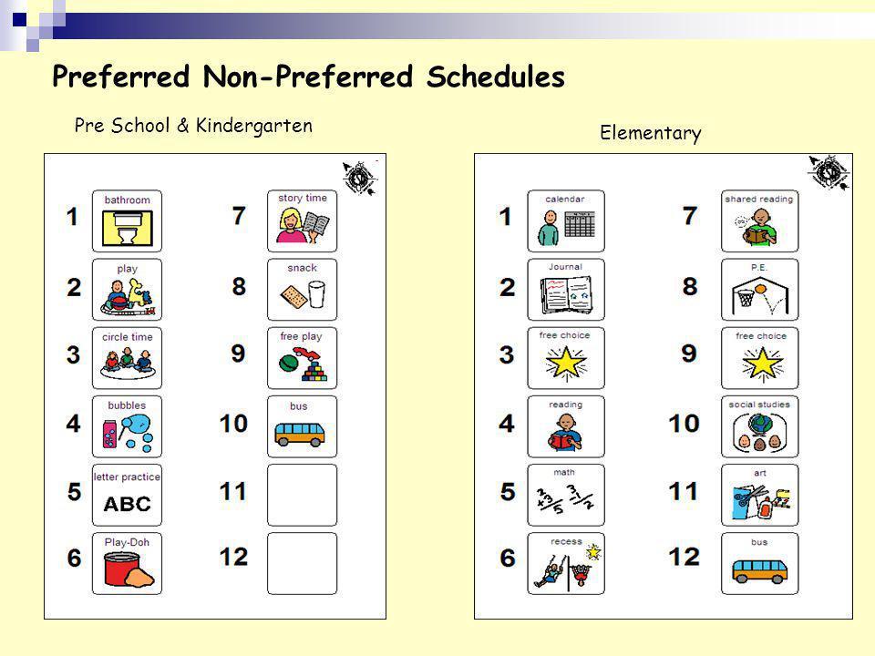 Preferred Non-Preferred Schedules