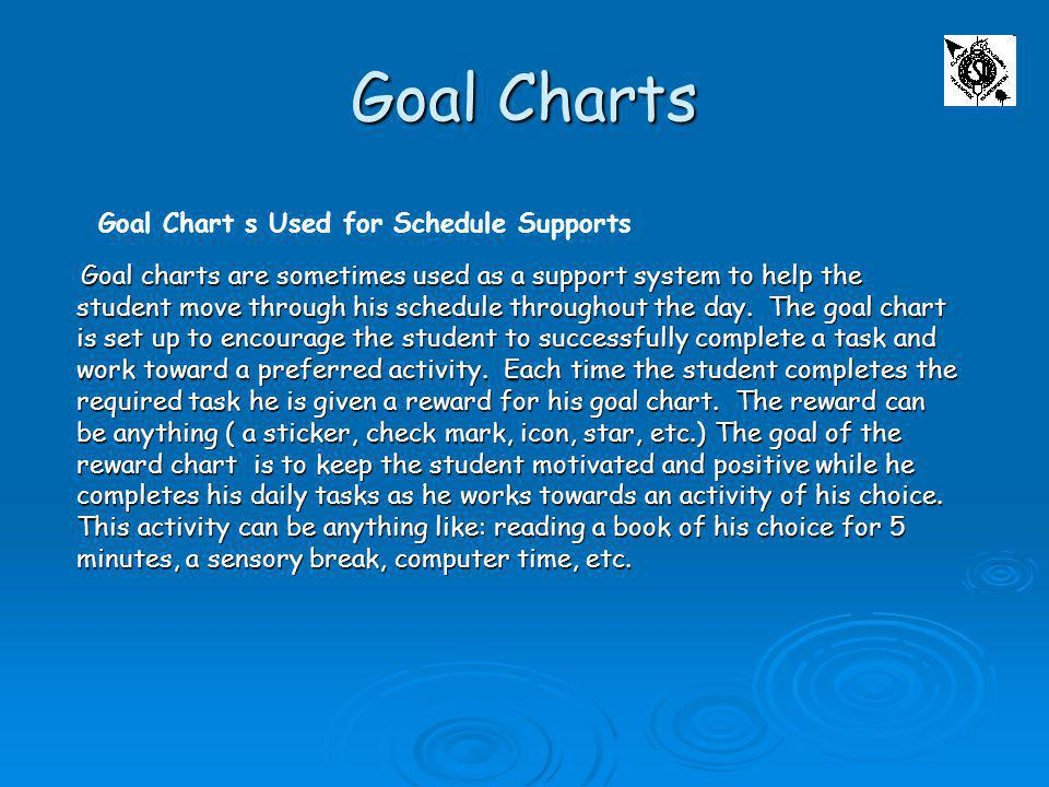 Goal Charts Goal Chart s Used for Schedule Supports