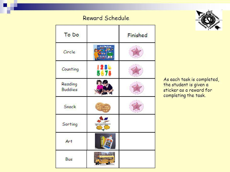 Reward Schedule As each task is completed, the student is given a