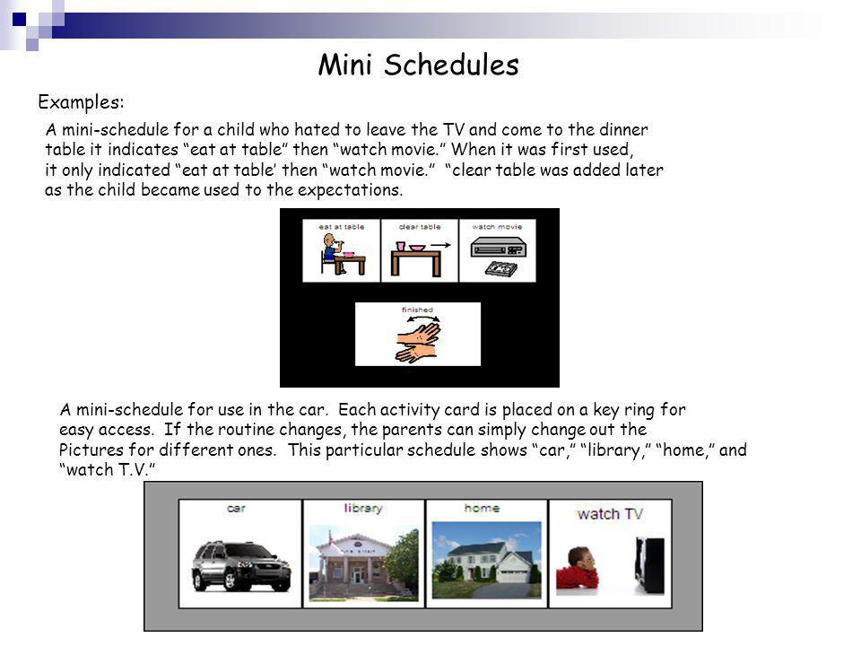 Mini Schedules Examples: