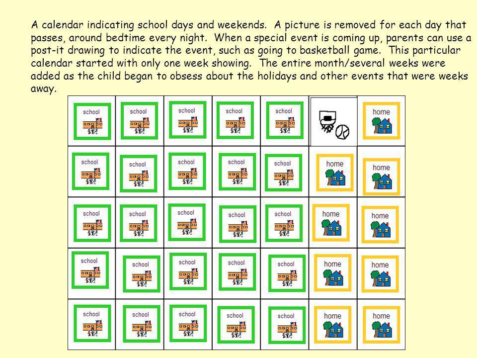 A calendar indicating school days and weekends