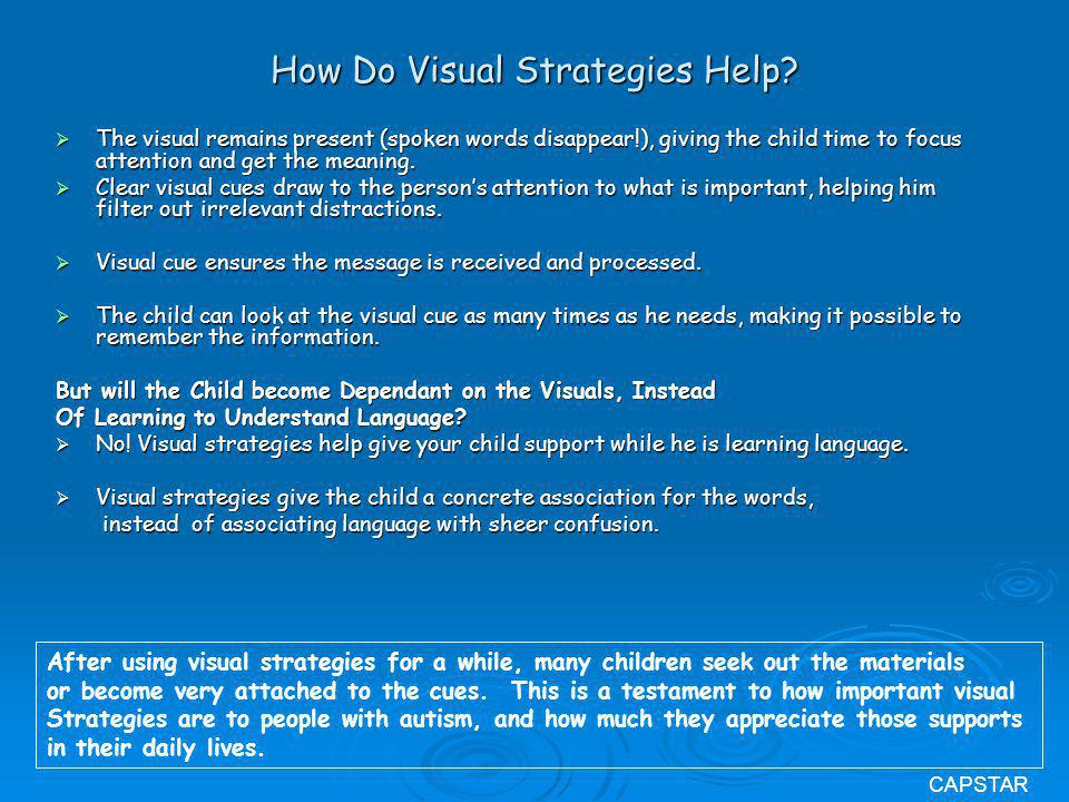 How Do Visual Strategies Help