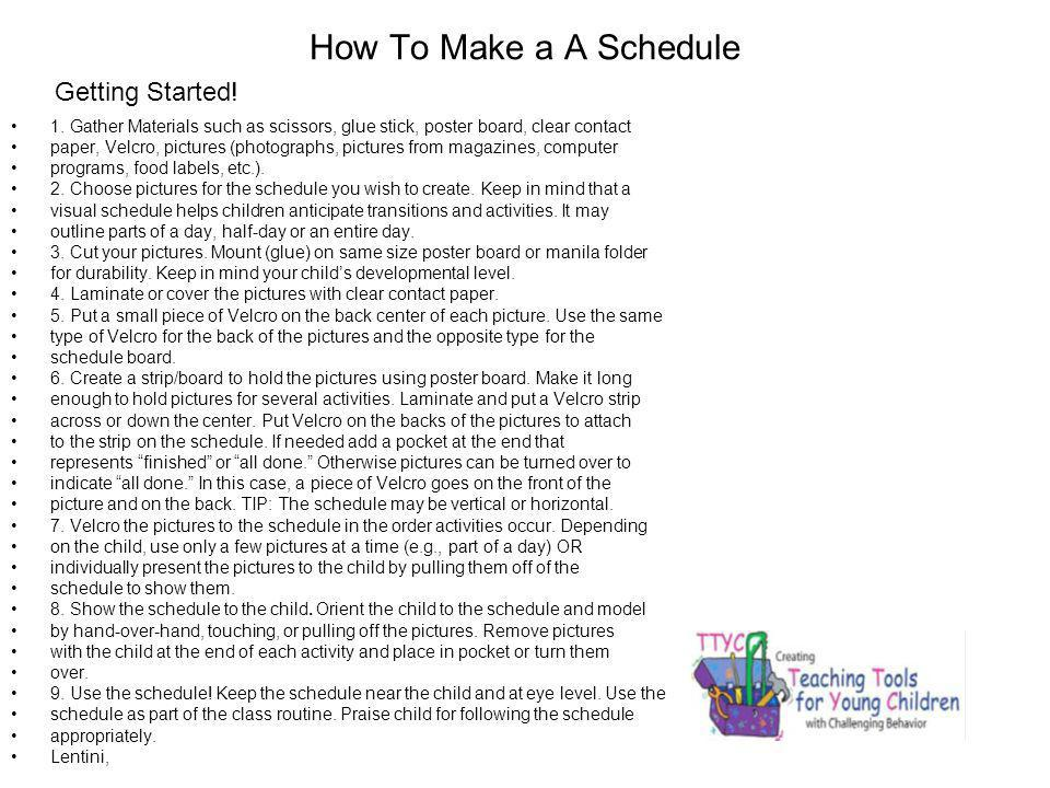 How To Make a A Schedule Getting Started!