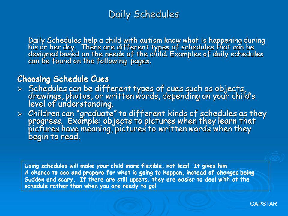 Daily Schedules Choosing Schedule Cues