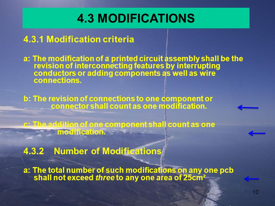 4.3 MODIFICATIONS 4.3.1 Modification criteria