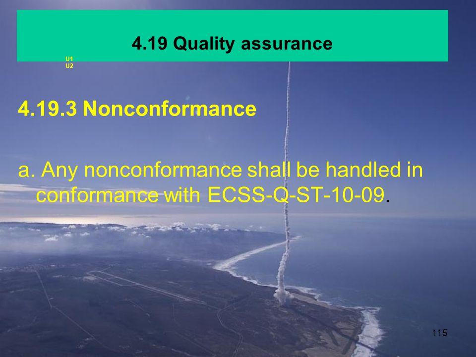 4.19 Quality assurance U1. U2. 4.19.3 Nonconformance.