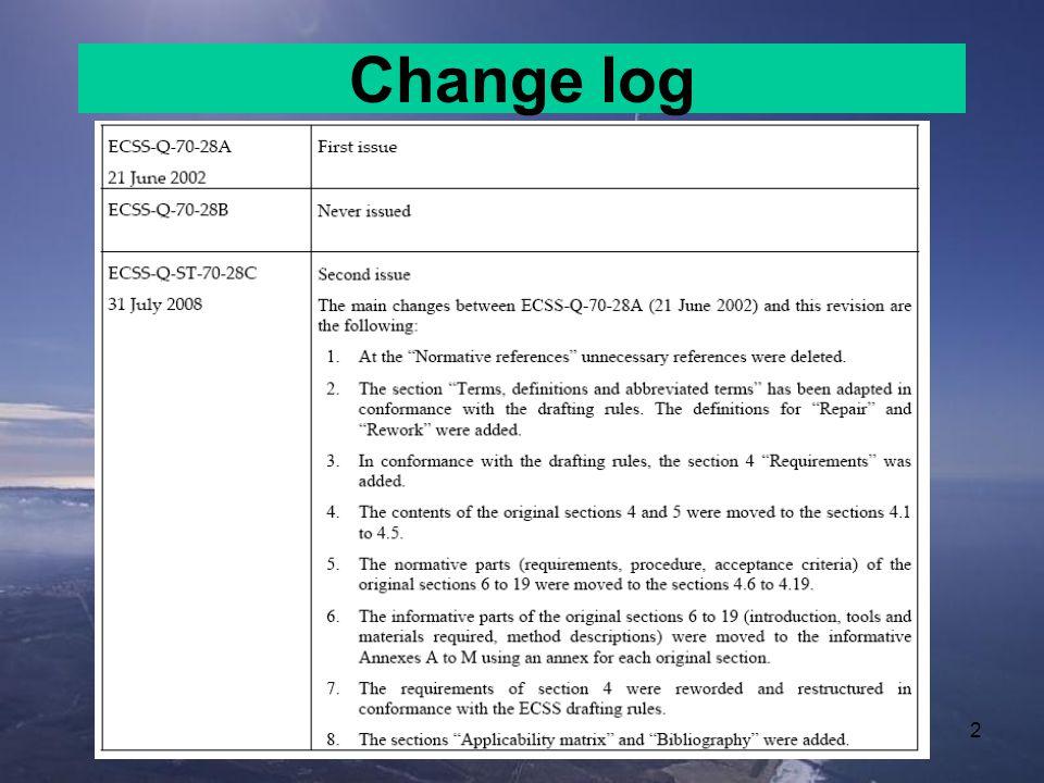 Change log