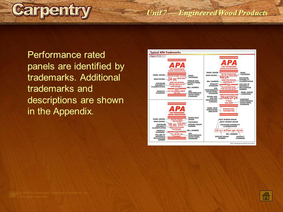 Performance rated panels are identified by trademarks