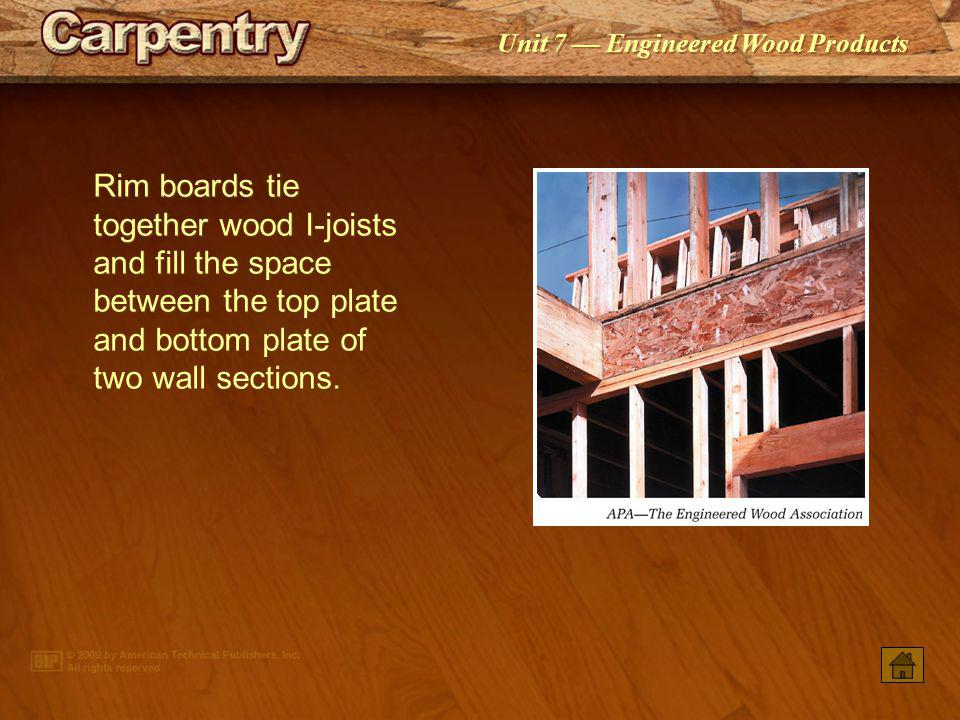 Rim boards tie together wood I-joists and fill the space between the top plate and bottom plate of two wall sections.