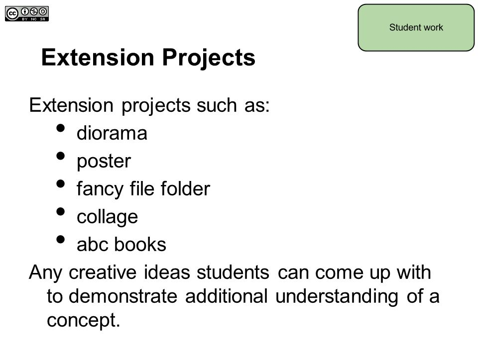 Extension Projects Extension projects such as: diorama poster