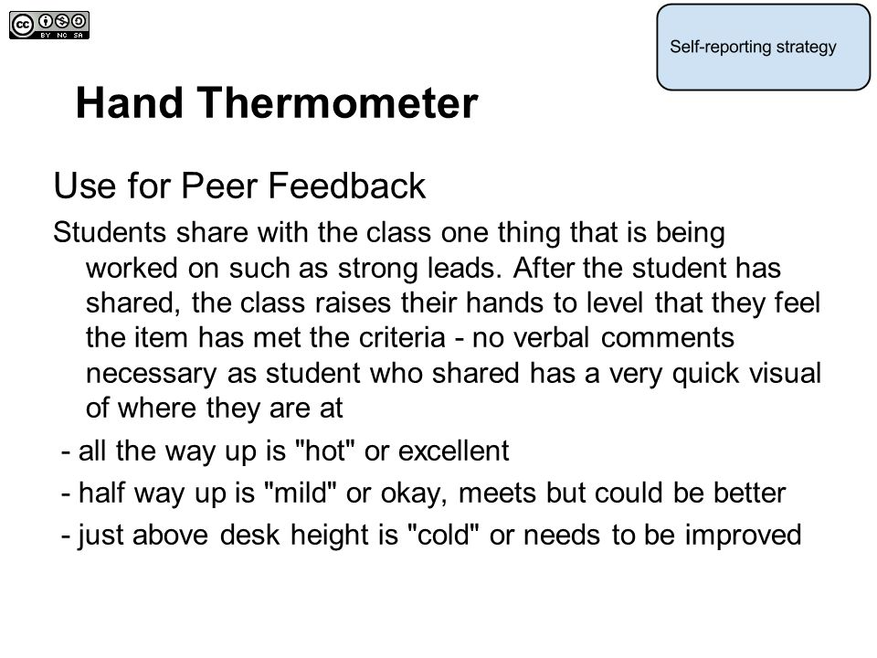 Hand Thermometer Use for Peer Feedback