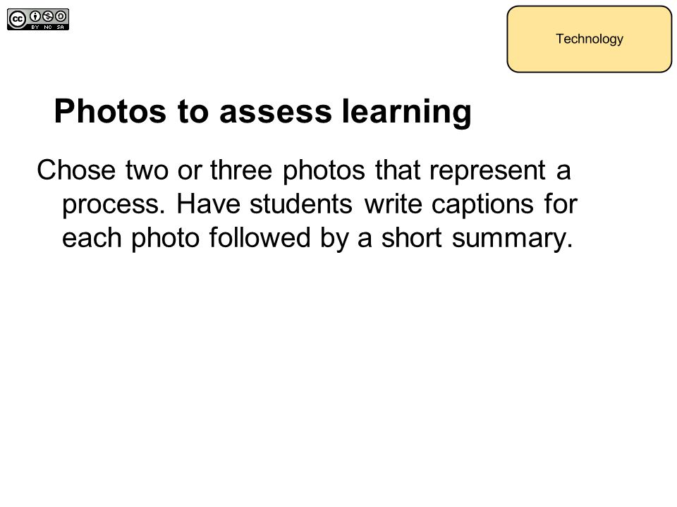 Photos to assess learning