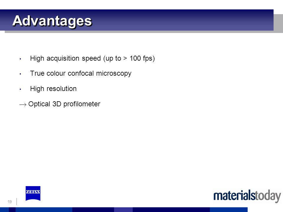 Advantages High acquisition speed (up to > 100 fps)