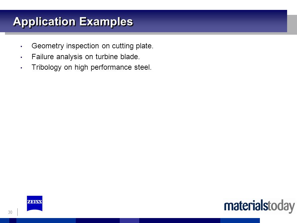 Application Examples Geometry inspection on cutting plate.