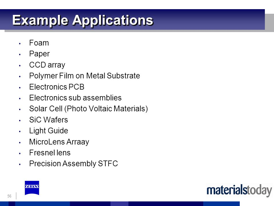 Example Applications Foam Paper CCD array