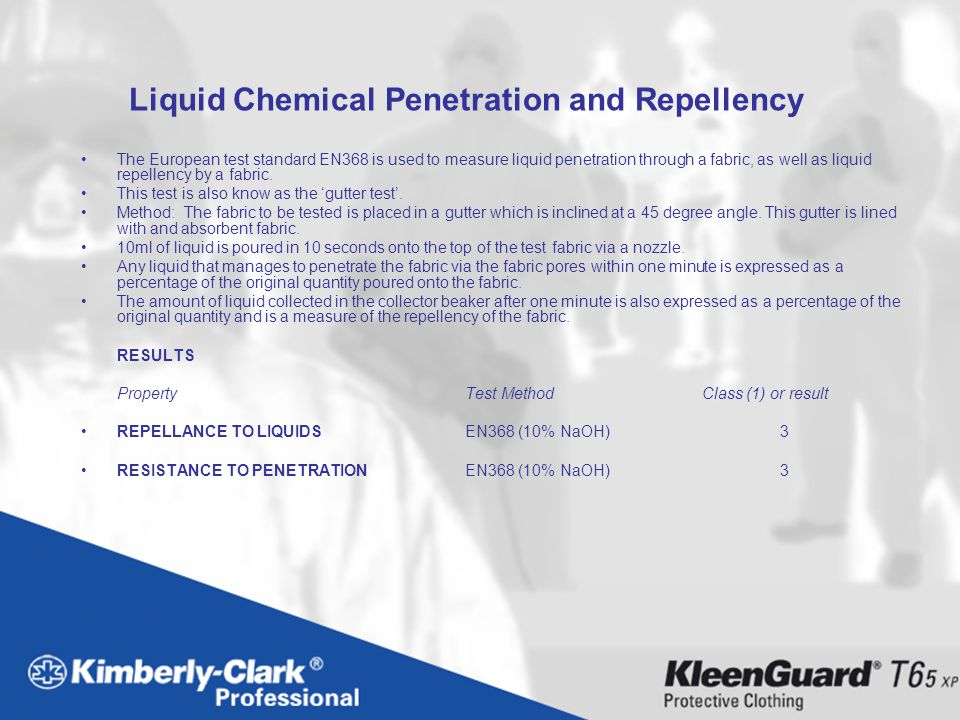 Liquid Chemical Penetration and Repellency