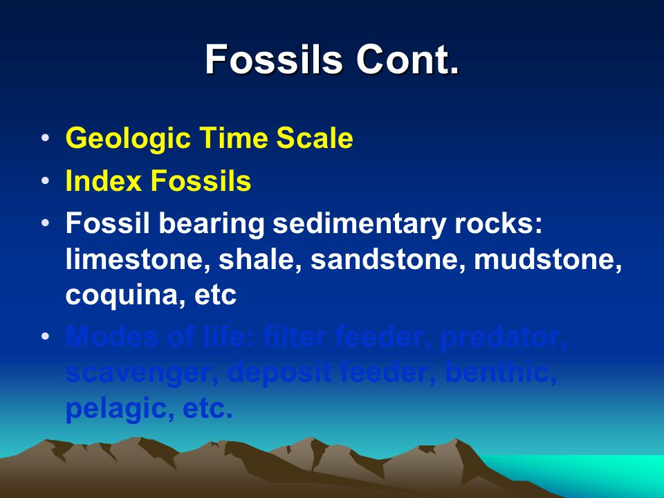 Fossils Cont. Geologic Time Scale Index Fossils
