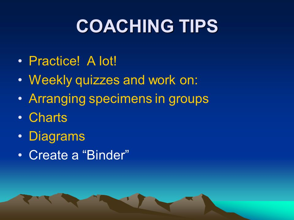 COACHING TIPS Practice! A lot! Weekly quizzes and work on: