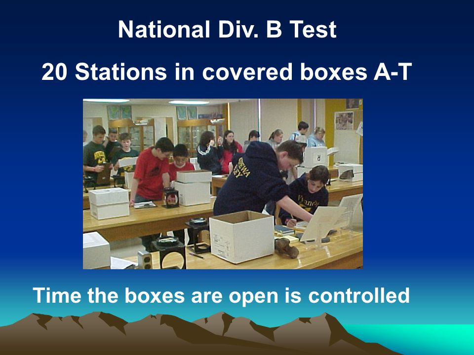 20 Stations in covered boxes A-T