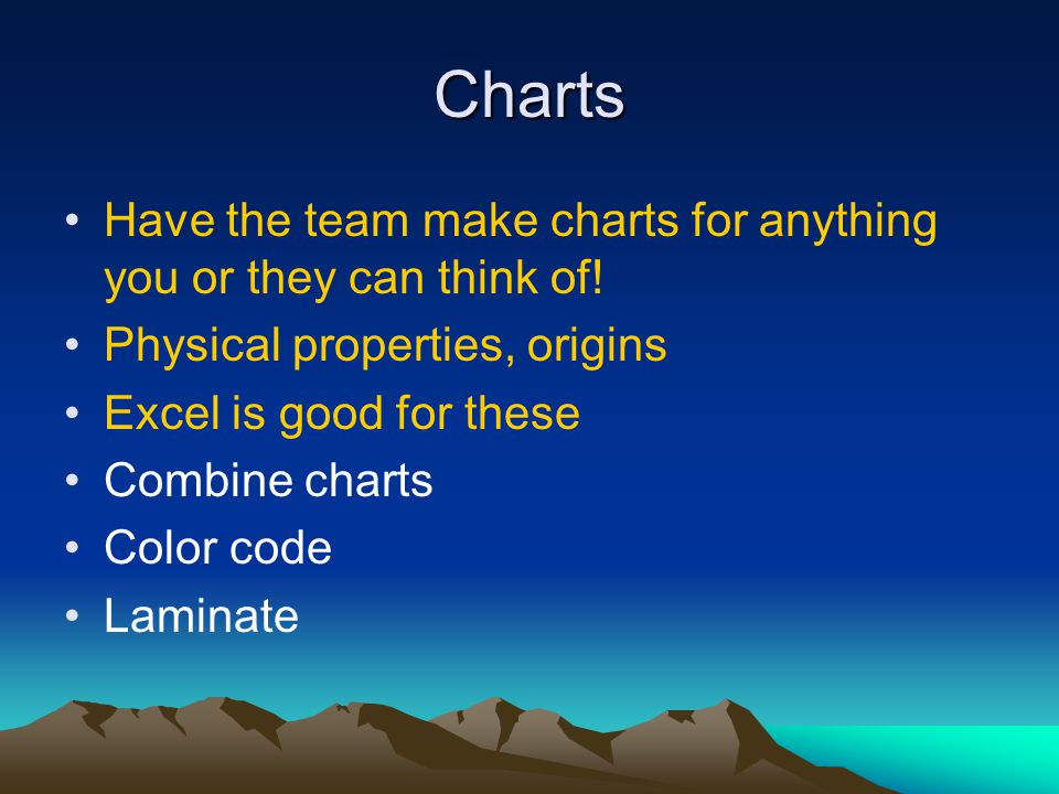 Charts Have the team make charts for anything you or they can think of! Physical properties, origins.