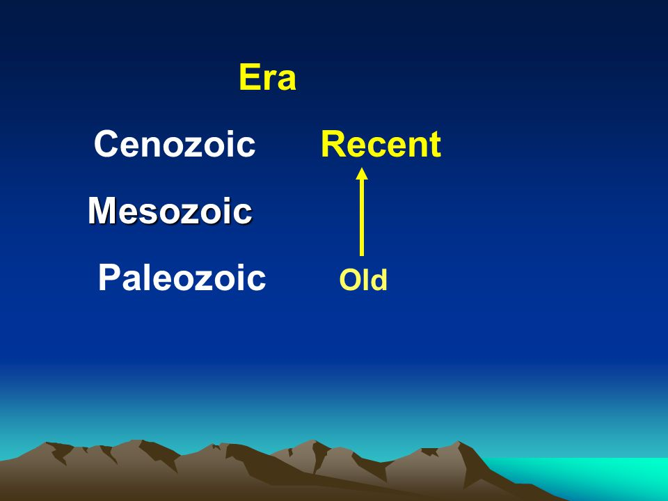 Era Cenozoic Recent Mesozoic Paleozoic Old