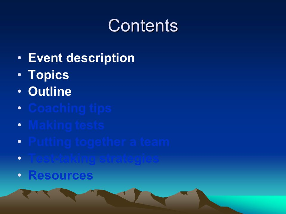 Contents Event description Topics Outline Coaching tips Making tests