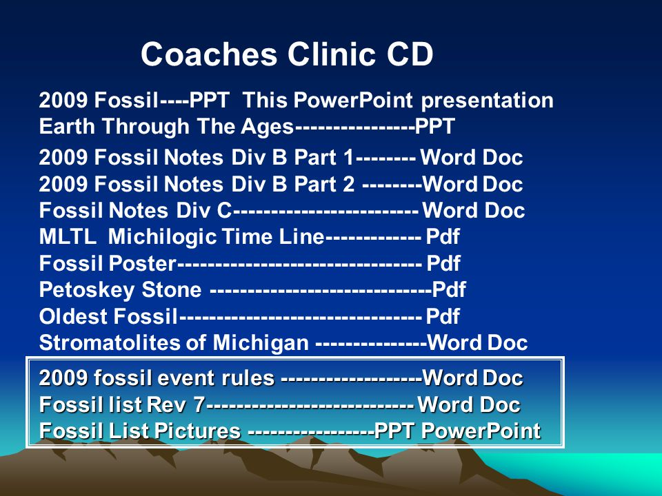 Coaches Clinic CD 2009 Fossil----PPT This PowerPoint presentation