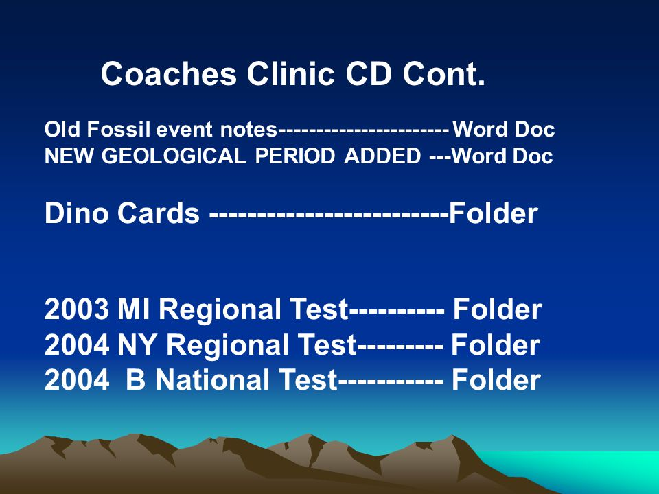 Coaches Clinic CD Cont. Dino Cards -------------------------Folder