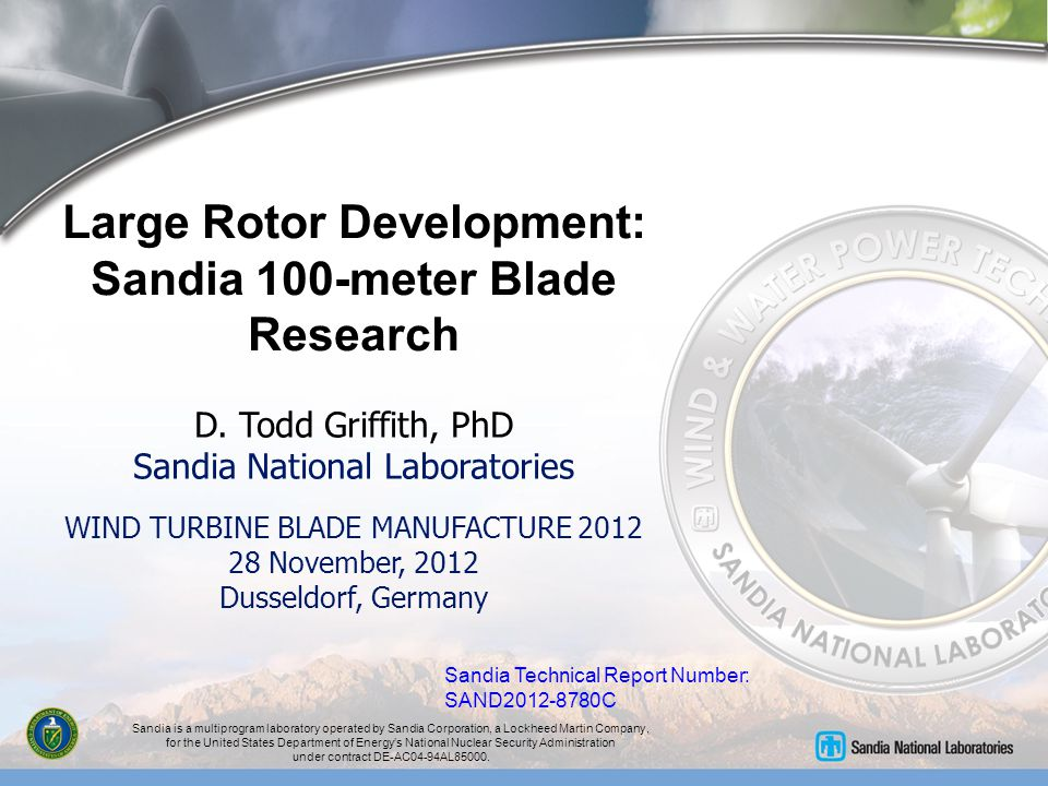 Large Rotor Development: Sandia 100-meter Blade Research