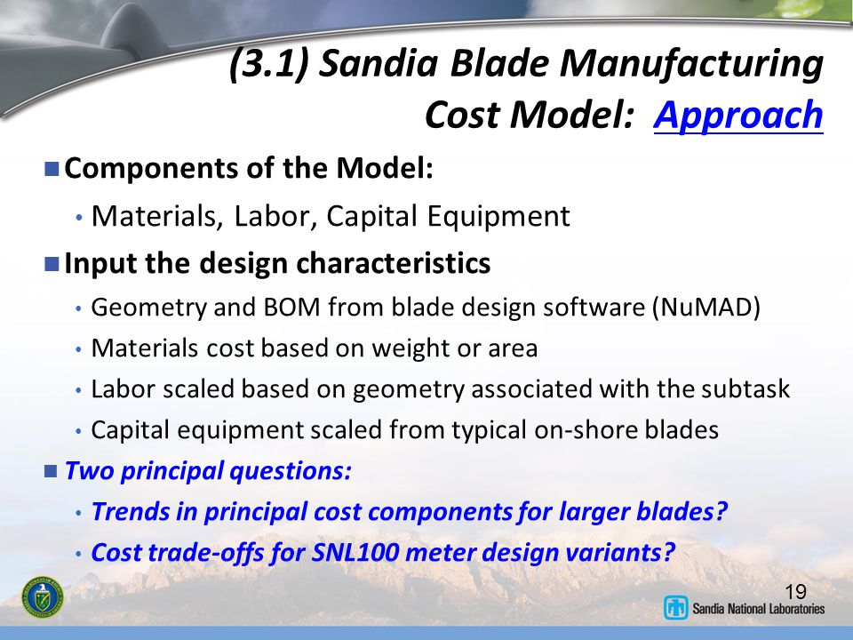 (3.1) Sandia Blade Manufacturing Cost Model: Approach