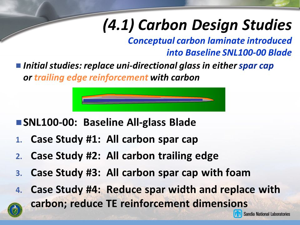 (4.1) Carbon Design Studies Conceptual carbon laminate introduced into Baseline SNL100-00 Blade
